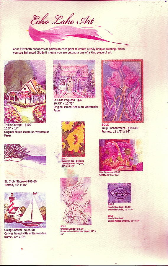 Echolakeart.com Painting - Echo Lake Art First Page Of Brochure by Anne-Elizabeth Whiteway