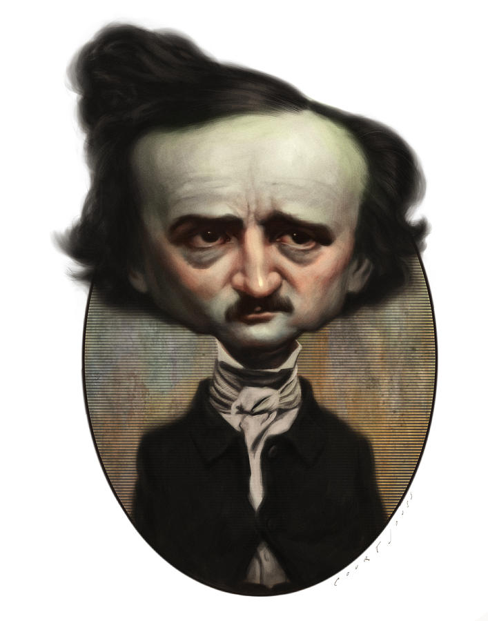 Caricature Painting - Edgar Allan Poe by Court Jones