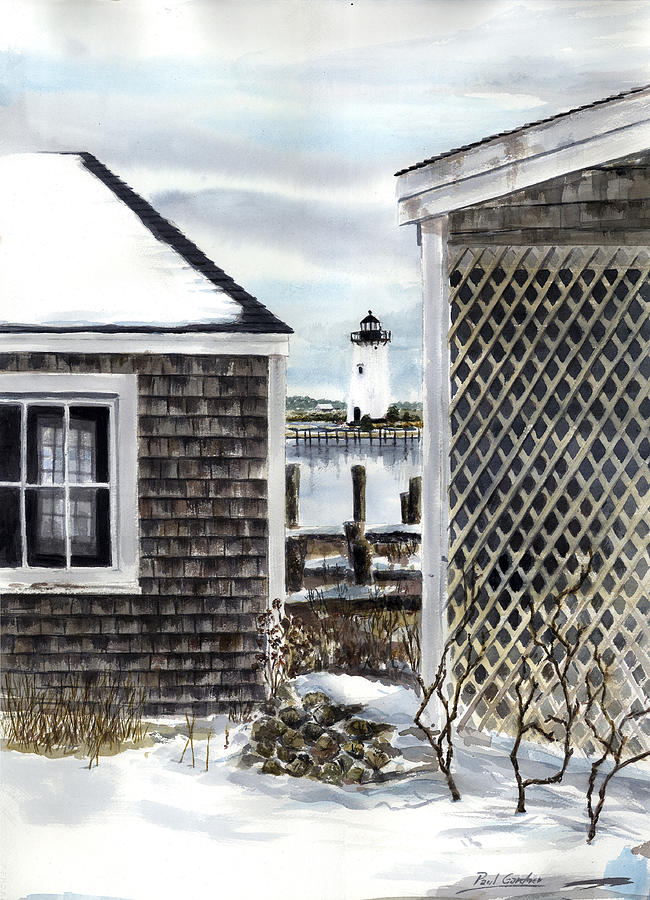 Edgartown Lighthouse Winter Marthas Vineyard Cape Cod Massachusetts Landscape Island New England Snow  Painting - Edgartown Winter by Paul Gardner