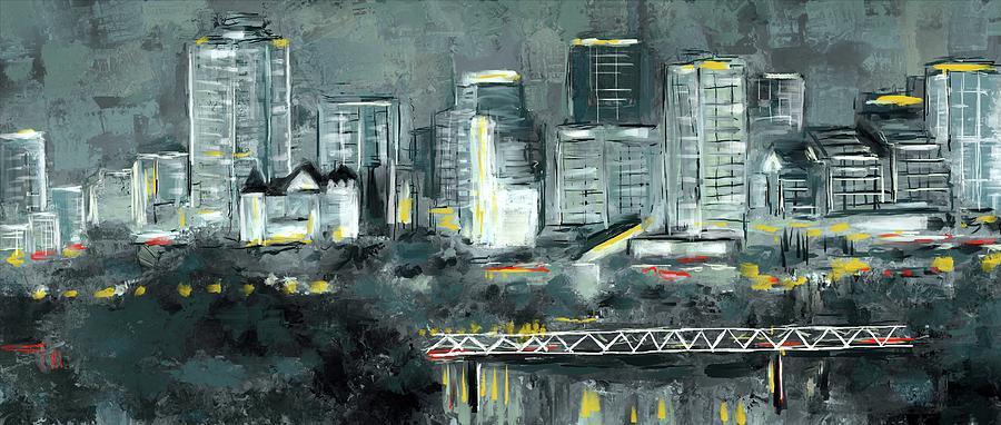 Edmonton Cityscape Painting Mixed Media