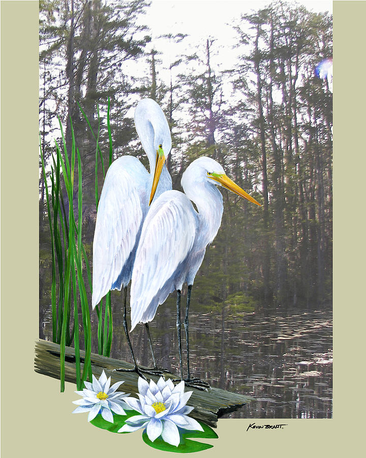 Egret Painting - Egrets And Cypress Pond by Kevin Brant