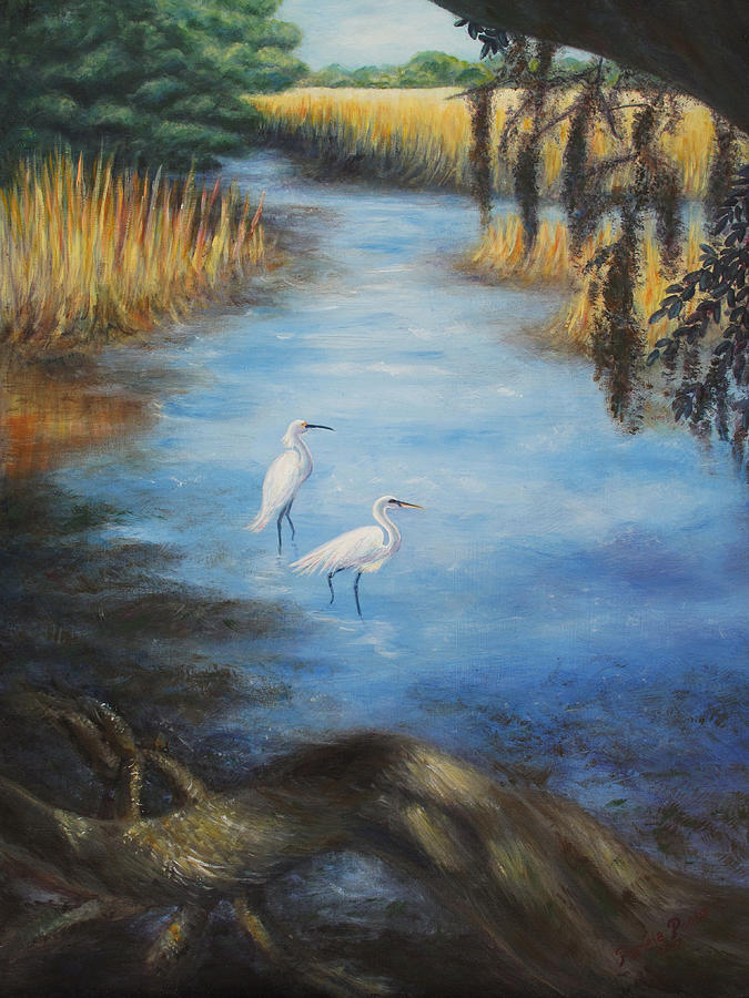 Landscape Painting - Egrets On The Ashley At Charles Towne Landing by Pamela Poole