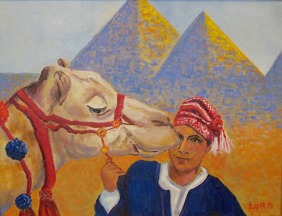 A Boy With His Camel You May Ride Near The Pyramids.   Painting - Egyptian Boy With Camel by Lore Rossi