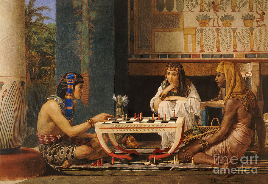 Egyptian Chess Players Painting - Egyptian Chess Players by Sir Lawrence Alma-Tadema