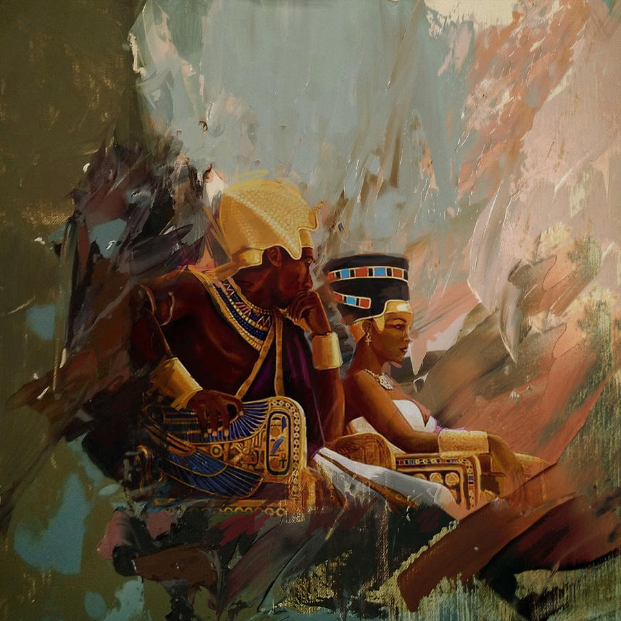 Egyptian culture 44b painting by corporate art task force for Egyptian mural paintings