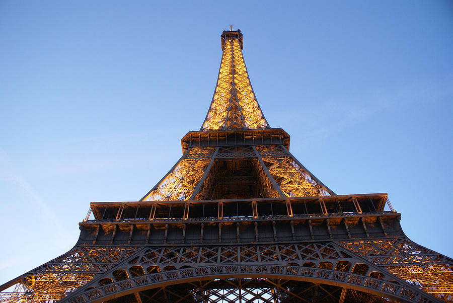 Architecture Photographs Photograph - Eiffel Tower At Dusk by Leonard Rosenfield