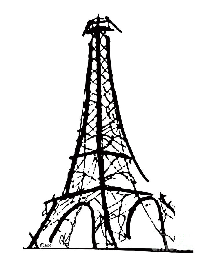 Effel Tower Painting - Eiffel Tower Black And White by Robyn Saunders