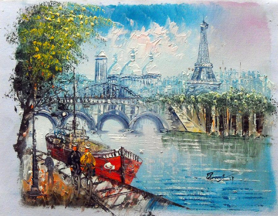 Eiffel Tower On The Seine River Painting By Unknow