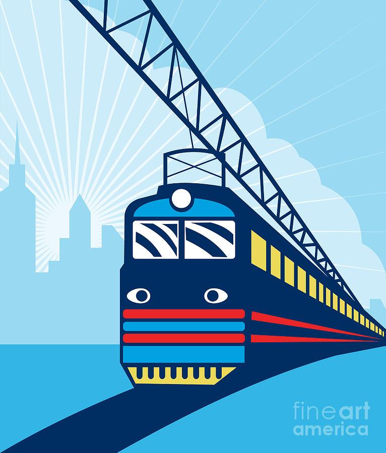 Electric Train Digital Art - Electric Passenger Train by Aloysius Patrimonio