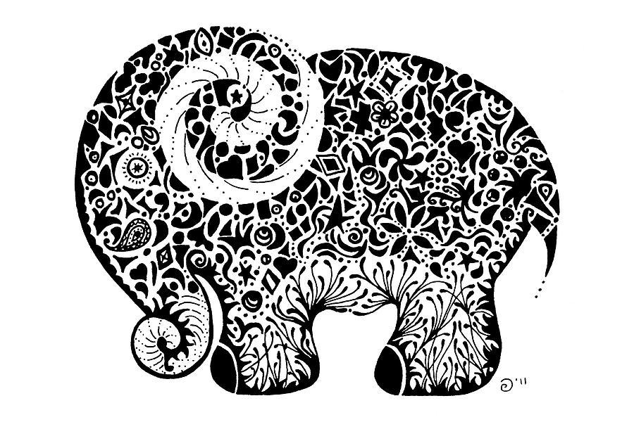 Elephant Doodle Drawing by Jacqueline Eden