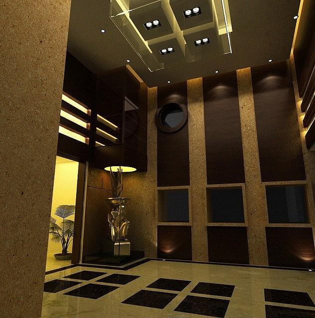 Medium Hotel Interior: Elevators Area Interior In Hotel Digital Art By Walid Fahmy