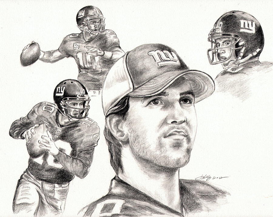 Eli Manning Drawing - Eli Manning by Kathleen Kelly Thompson