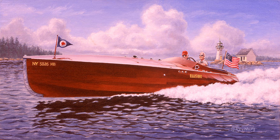 Boat Painting - Elusive by Richard De Wolfe