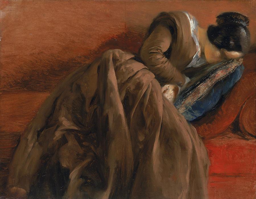 Adolph Friedrich Erdmann Von Menzel Painting - Emilie The Artists Sister Asleep by Adolph Friedrich Erdmann von Menzel