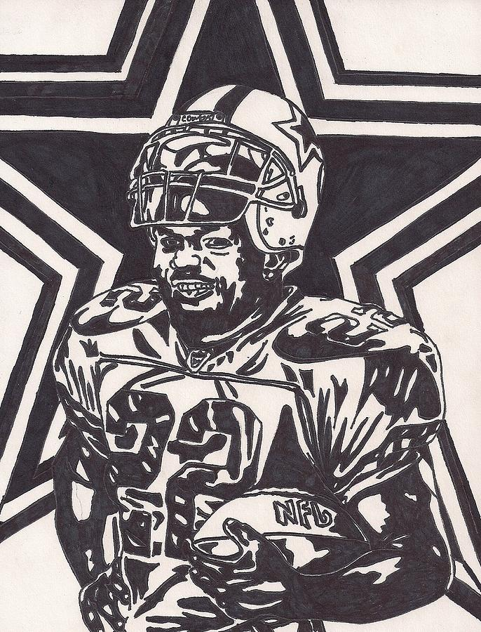 Emmitt Smith Drawings Drawing - Emmitt Smith by Jeremiah Colley