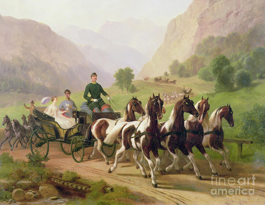Emperor Painting - Emperor Franz Joseph I Of Austria Being Driven In His Carriage With His Wife Elizabeth Of Bavaria I by Austrian School