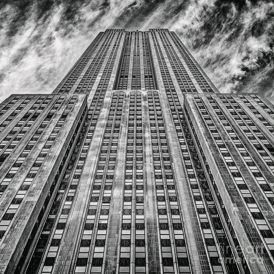 Crazy Nyc Photograph - Empire State Building Black And White Square Format by John Farnan