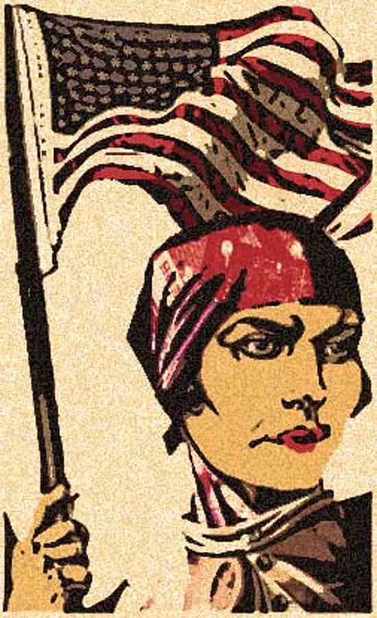American Flag Drawing - Employ American Buy American by Jennifer Ott