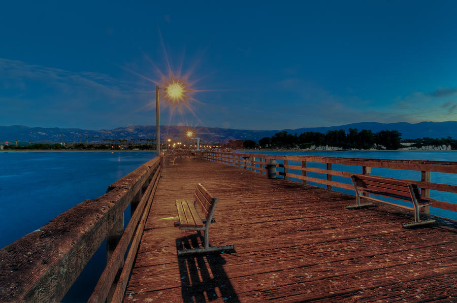 Abstract Photograph - Empty Pier Glow by Connie Cooper-Edwards