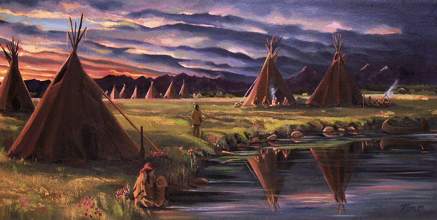 Native American Painting - Encampment At Dusk by Nancy Griswold