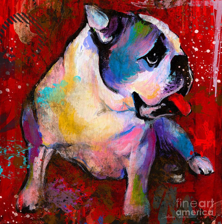English Bulldog Painting - English American Pop Art Bulldog Print Painting by Svetlana Novikova