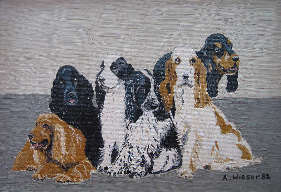 English Cocker Spaniel Family Painting
