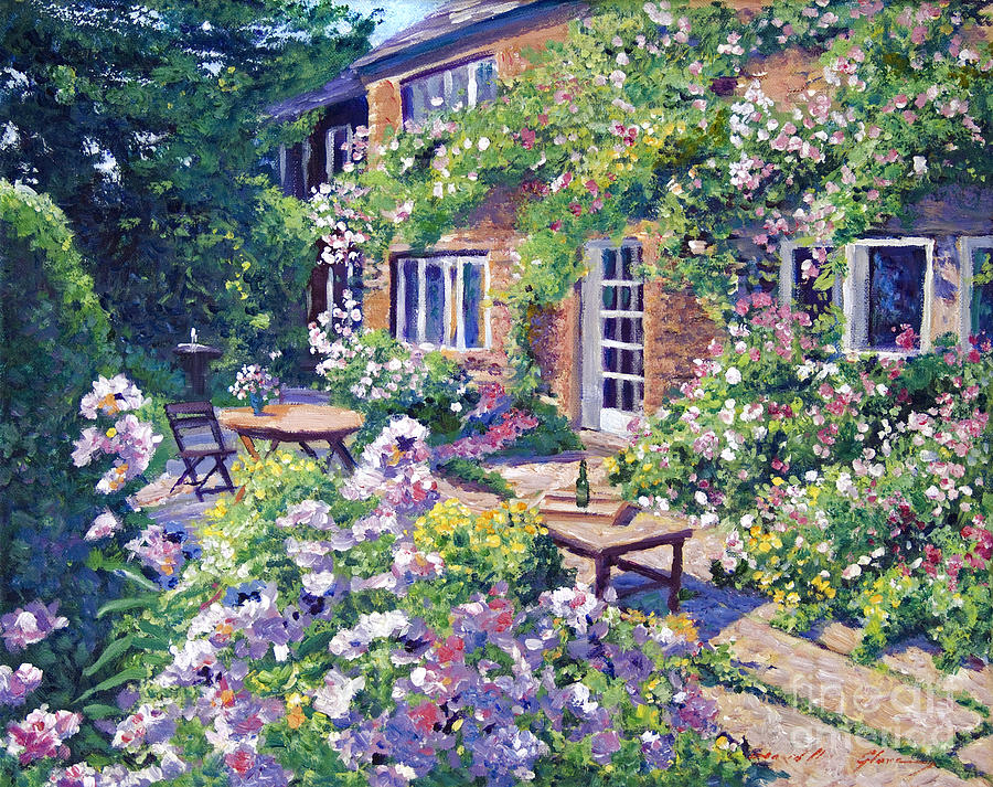 Plein Aire Painting - English Courtyard by David Lloyd Glover