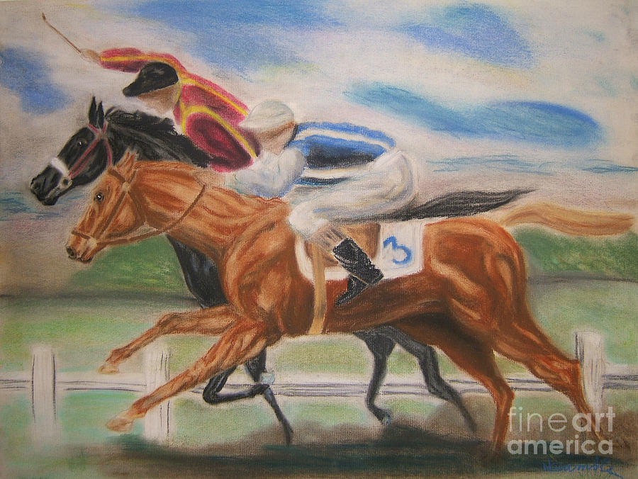 Horse Mixed Media - English Horse Race by Nancy Rucker