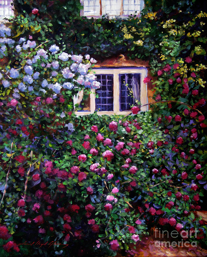 English Manor House Roses Painting By David Lloyd Glover