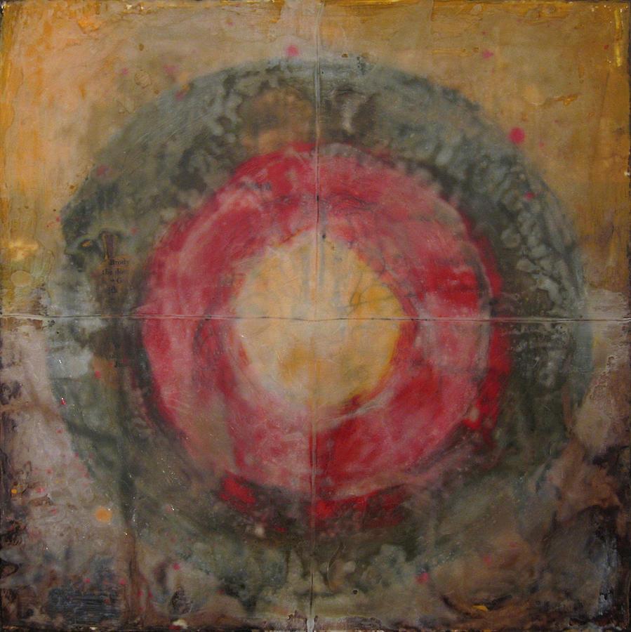 Encaustic Body Brain Thinking Painting Symbolism Metaphor Painting - Enshrine - Mindfulness by Janelle Schneider
