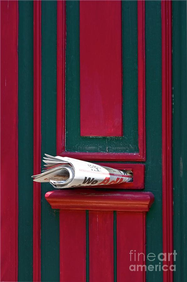 Heiko Photograph - Entrance Door And Newspaper by Heiko Koehrer-Wagner