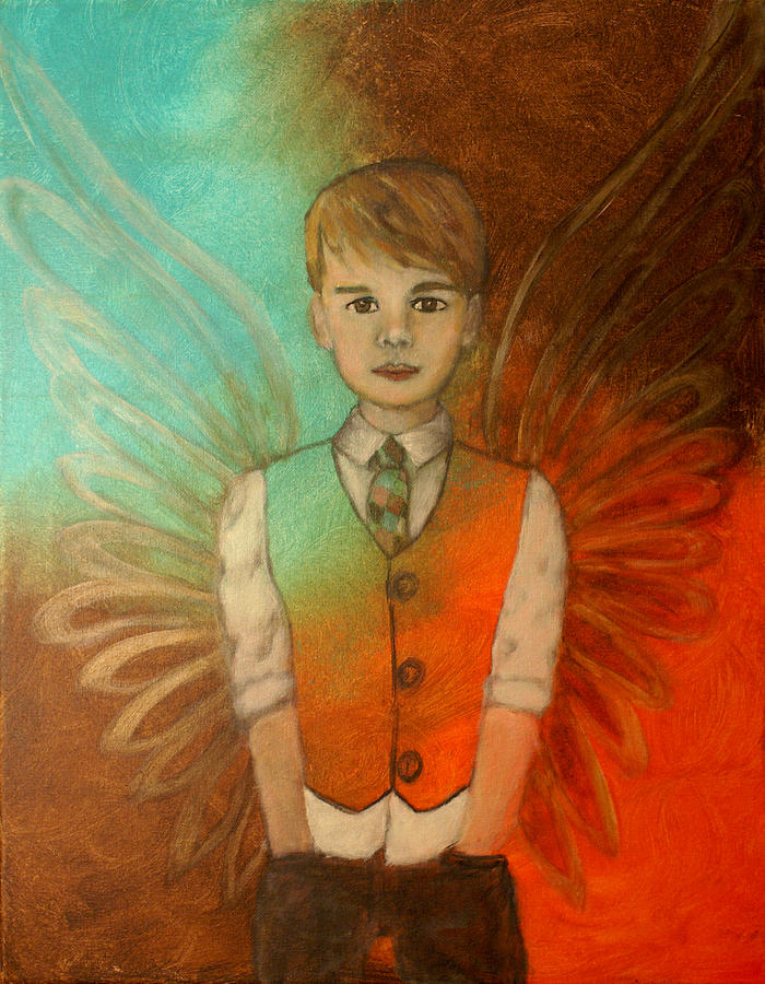 Angel Painting - Ethan Little Angel Of Strength And Confidence by The Art With A Heart By Charlotte Phillips