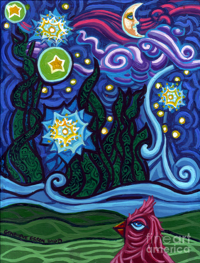 Starry Night Painting - Etoile Noire Bleu by Genevieve Esson