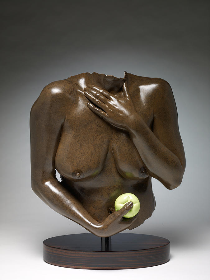 Nude Sculpture Sculpture - Eve With Green Apple by Wayne Berger