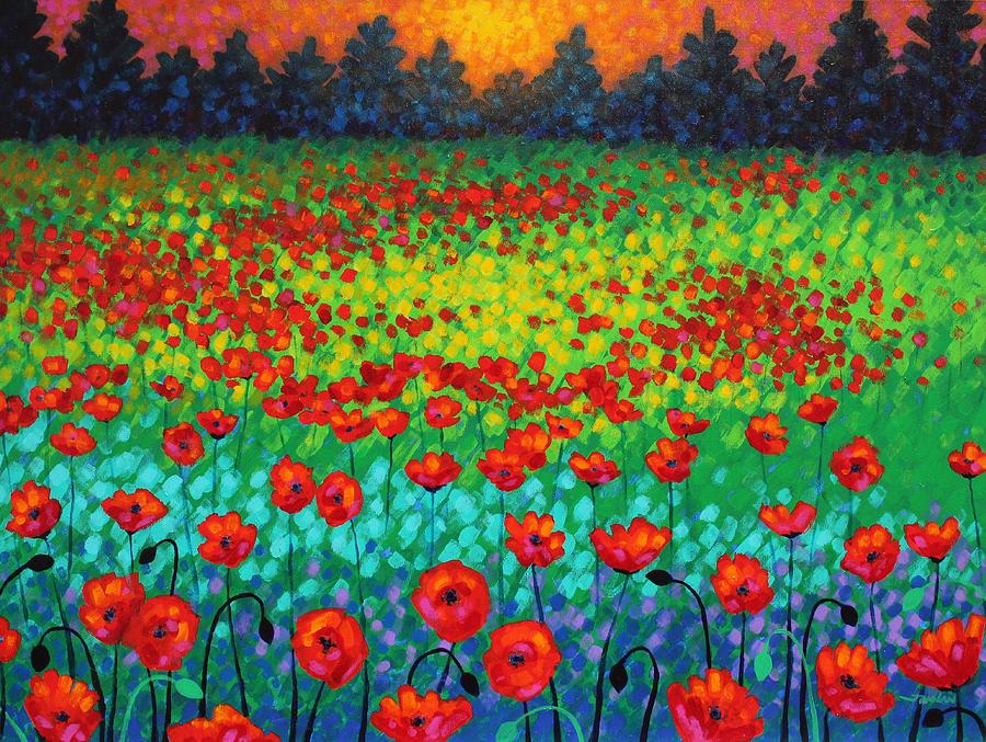 Acrylic Painting - Evening Poppies by John  Nolan