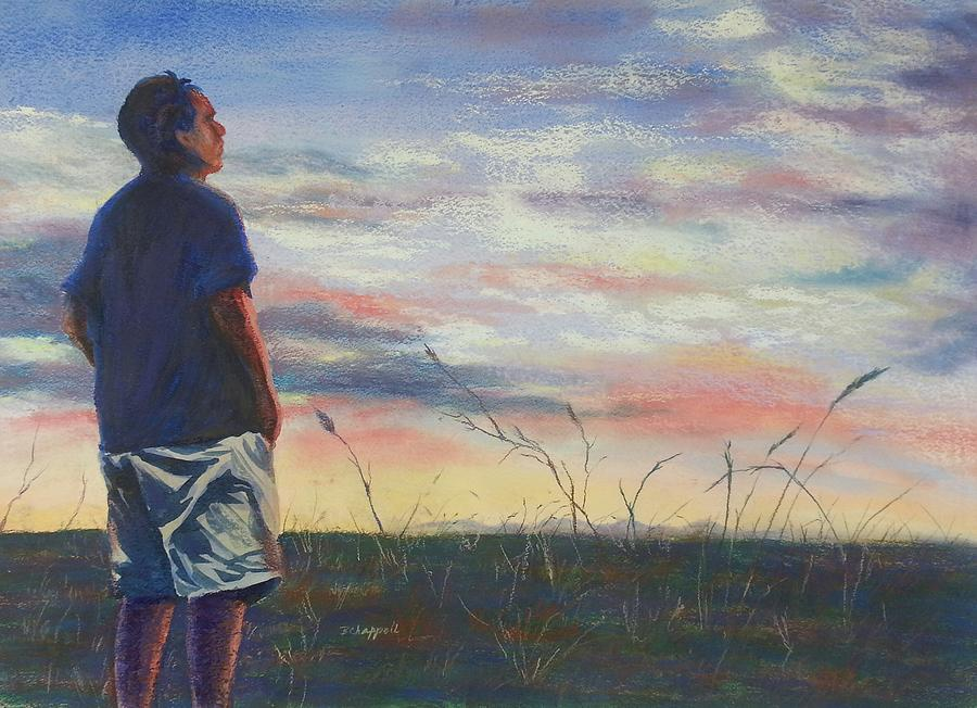 Figure; Man; Reflection; Sunset; Quiet; Mood; Field; Plains; Landscape; Sky; Nature; Outdoors; Peaceful; Blue; Pink Painting - Evening Reflection by Becky Chappell