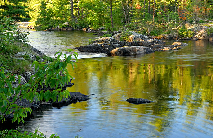 Boundary Waters Canoe Area Wilderness Photograph - Evening Reflections At Lower Basswood Falls by Larry Ricker