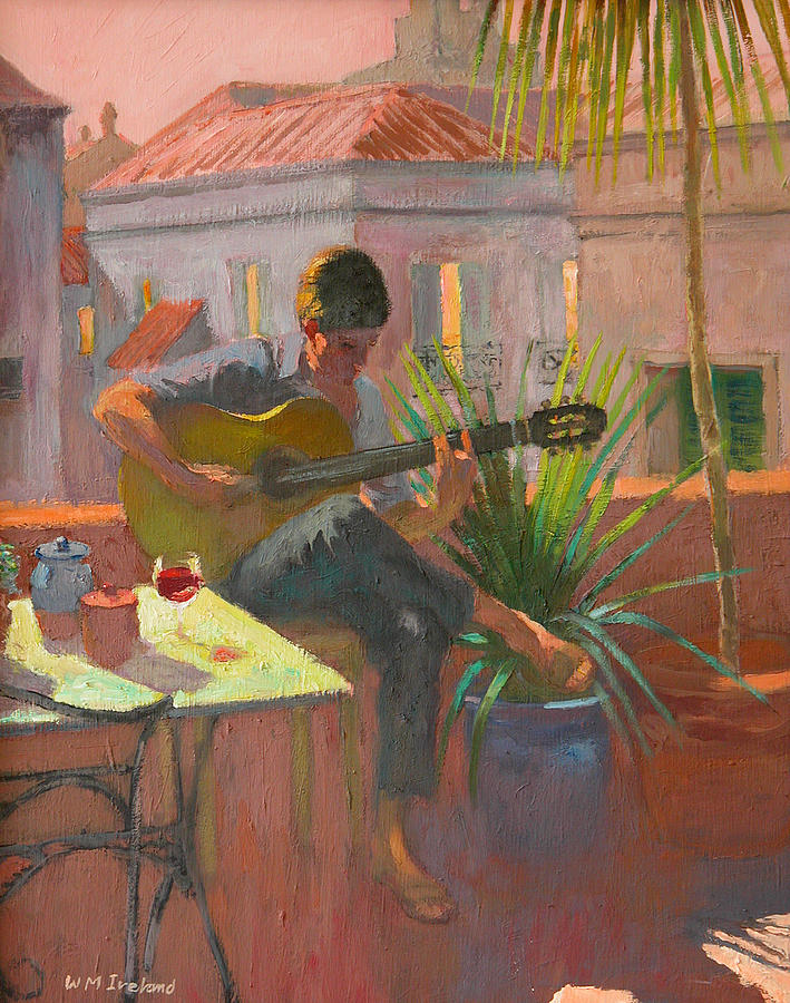 Playing; Acoustic; Guitar; Legs; Crossed; Table; Balcony; Terrace; Summer; Holiday; Vacation; Roof; Music; Playing Guitar; Table; Glass; Pot; Pots; Plant; Plants; Rooftop; Rooftops; Evening; Window; Windows Painting - Evening Rooftop by William Ireland