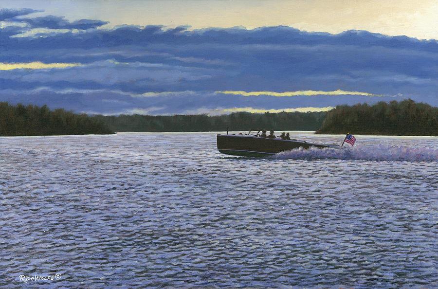 1000 Islands Painting - Evening Run by Richard De Wolfe