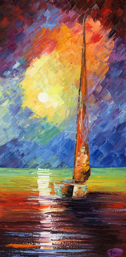 Oil Painting Art Artwork Acrylic Impressionist Impressionism Palette Knife Texture Giclee Print Reproduction Colorful Bright Evening Night Sail Sailing Love Passion Desire Quietness Quiet Reflection Relaxation Relaxed Wild Nature Water Sky Blue Red Yellow Moon Boat Marine Nautical Amor Deseo Passion  Agua Azul Rojo Amarillo Luna Bote Marina Nautico Vela Tranquilidad Relajacion Waterscape Fish Fishing Color Colour Colourful Painting - Evening Sail by Ash Hussein