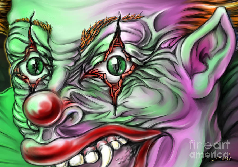 Evil Painting - Evil Clown Eyes by Michael Spano