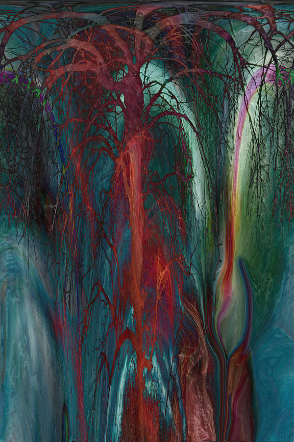 Abstracts  Digital Art - Experimental Tree by Linda Sannuti