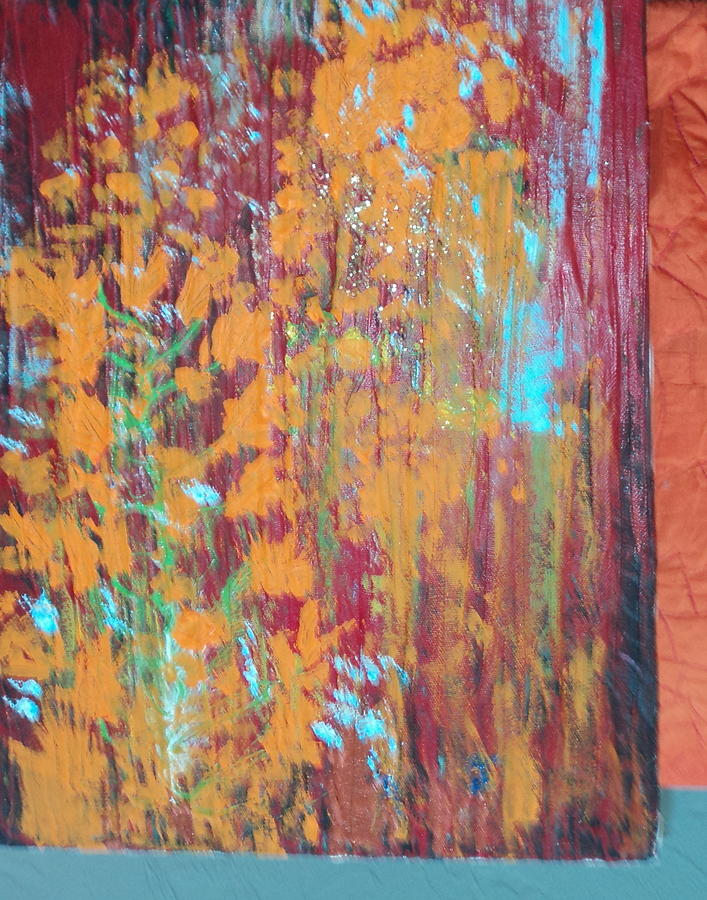 Experimental Work In Progress With Orange And Red Mixed Media