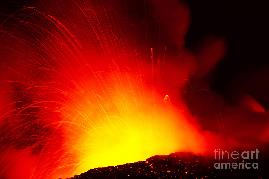 Active Photograph - Exploding Lava At Night by Peter French - Printscapes