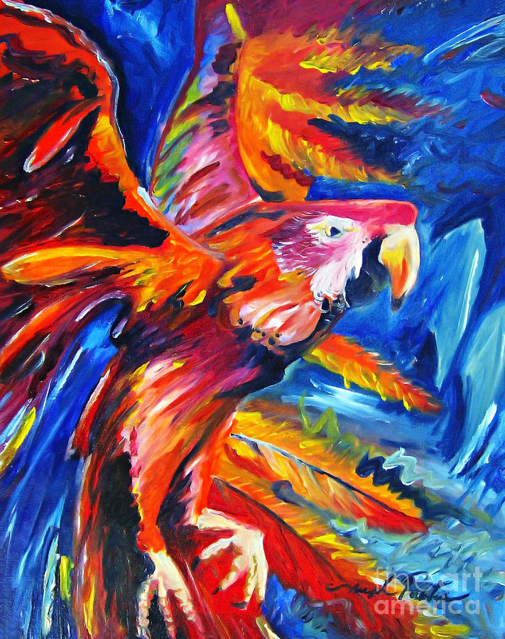 Flora Painting - Expressionism Flora In Flight by Joseph Palotas