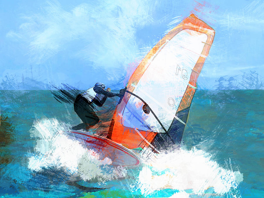 Ocean Painting - Expressionist Orange Sail Windsurfer  by Elaine Plesser
