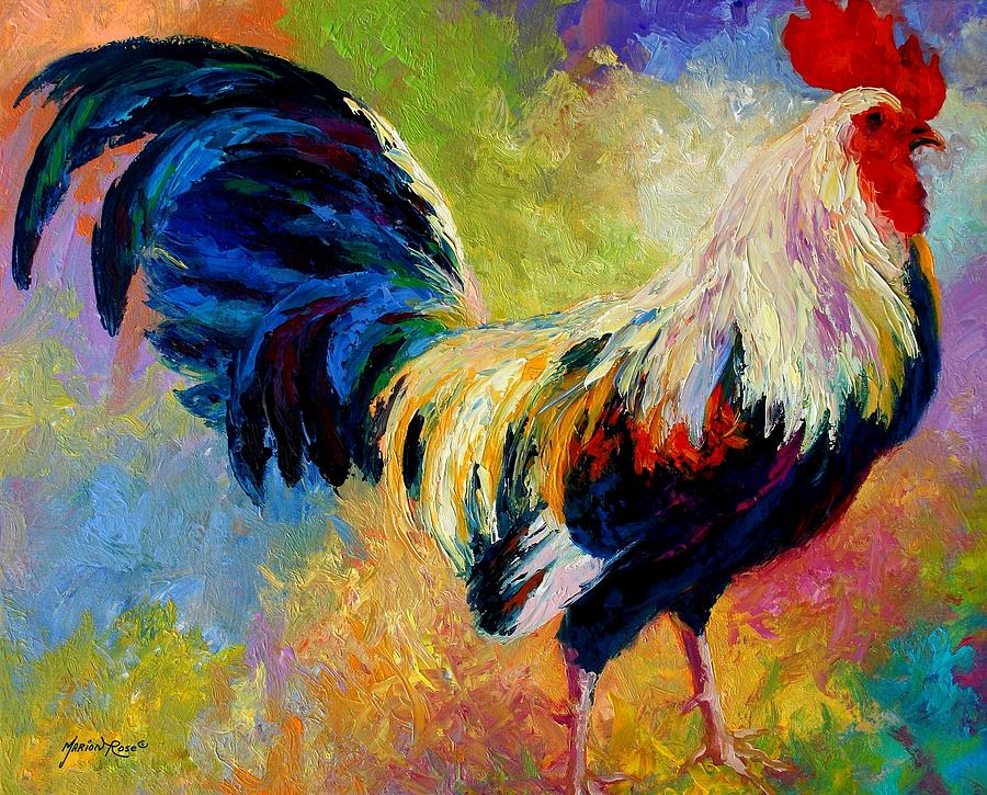 Rooster Painting - Eye Candy - Rooster by Marion Rose