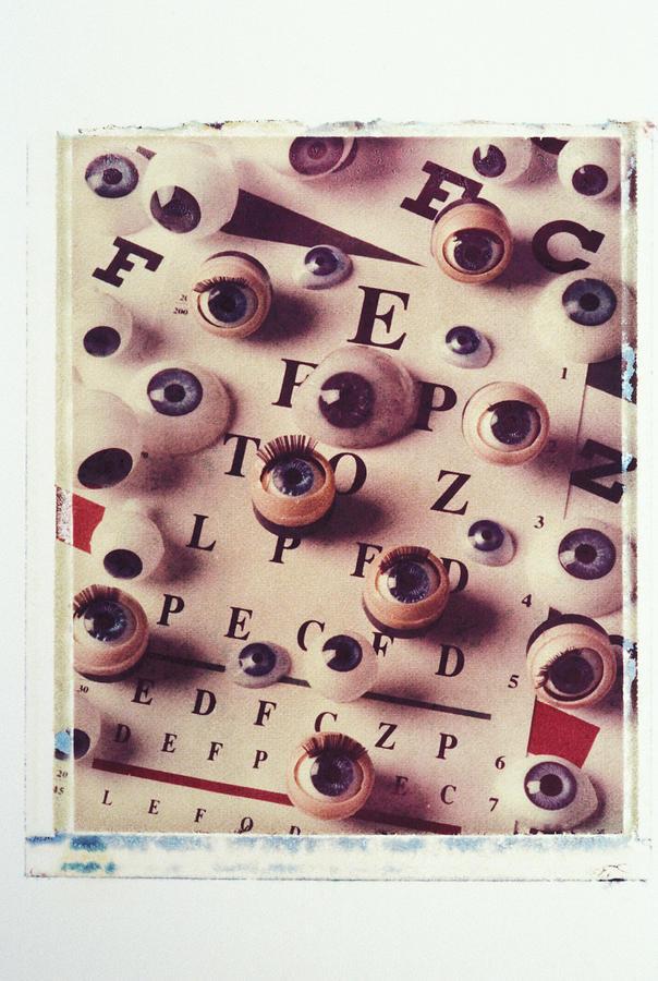 Eyes Eye Chart Vision See Seeing Eyelash Letters Medical Eyeball Photograph - Eyes On Eye Chart by Garry Gay