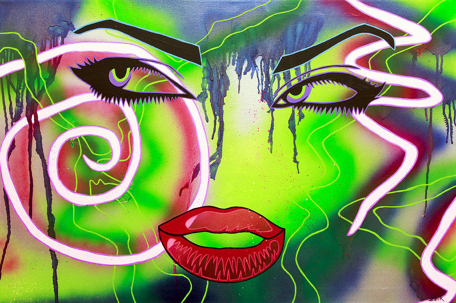Abstract Painting - Eyes That Could Kill by Bobby Zeik