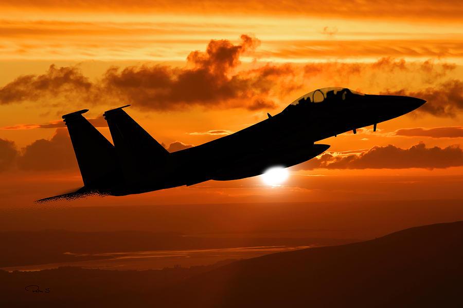 F 15 Eagle Sunset Digital Art By Peter Scheelen